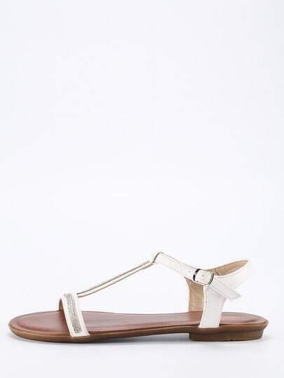 White T Strap Flat Sandals