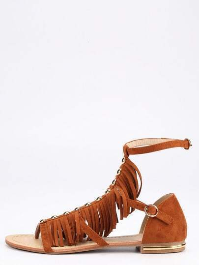 Faux Suede Caged Fringe Sandals - Camel