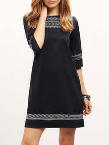 Navy Embroidered Shift Dress