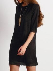 Black Lace Hem Shift Dress