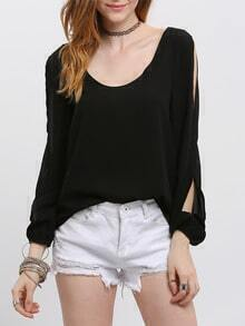 Black Cut-out Long Sleeve Scoop Neck Blouse