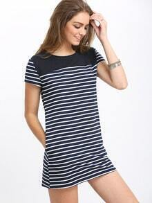 White Blue Color Block Side Pocket Shift Dress