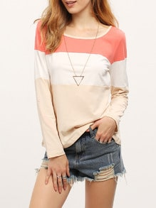 Apricot Color Block Adjustable Sleeve T-Shirt