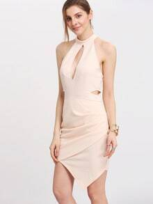 Apricot Mock Neck Cut Out Wrap Dress