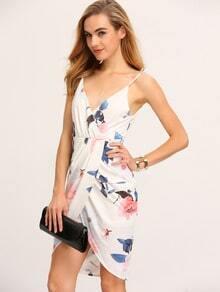White Spaghetti Strap Floral Wrap Front Dress