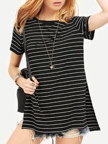 Black White Stripe Split Side Dip Hem Casual T-shirt