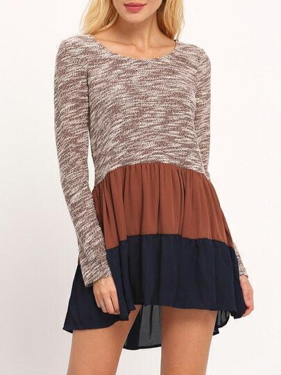 Brown Contrast Flounce Dress
