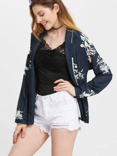 Navy Wrap Front Floral Outerwear
