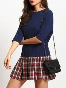 Navy Round Neck Plaid Hem Doll Dress