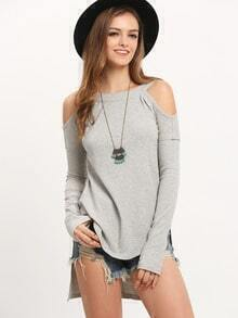 Grey Off The Shoulder Dip Hem Rib T-shirt