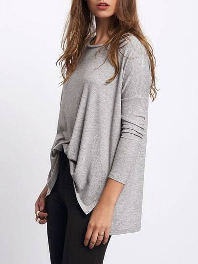 Grey Long Sleeve Dip Hem Split Side Casual T-shirt
