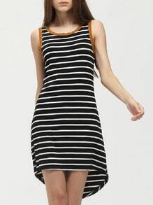 Black White Stripe Cut Out Backless Dip Hem Dress