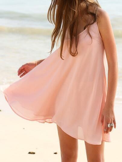 Pink V Neck Gold Chain Spaghetti Strap Beach Dress