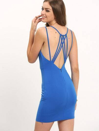 Blue Backless Spaghetti Strap Beach Dress