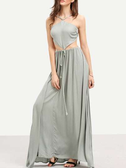 Light Green Cut-out Front Backless Weave Strap Maxi Dress