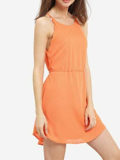 Orange Scallop Lace Up Back Spaghetti Strap Dress