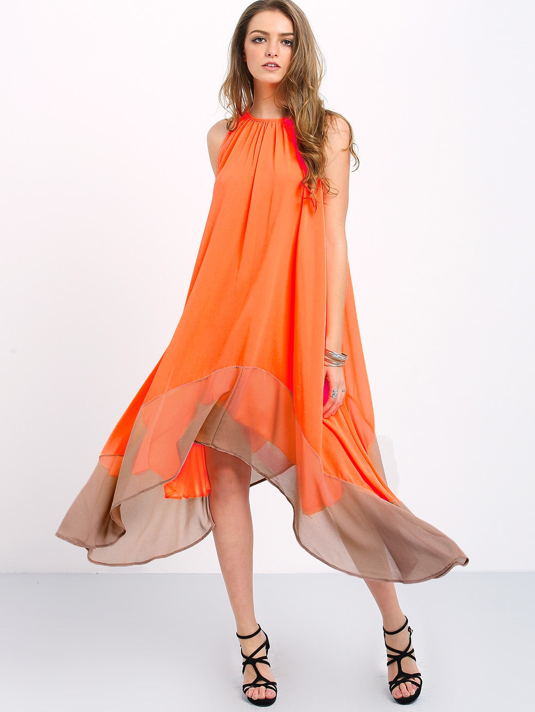 Colour-block Loose Tent Dress -SheIn(Sheinside)