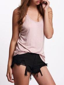 Pink Backless Spaghetti Strap Camis Top