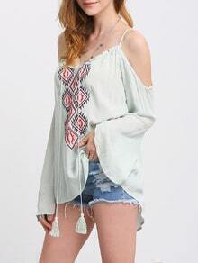 Light Green Bell Sleeve Embroidery Tassel Spaghetti Strap Blouse