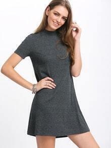 Grey Short Sleeve Mock Neck Casual Shift Dress