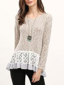 Grey Contrast Lace Flounce Sweater