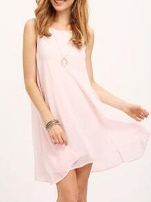 Pink Sleeveless Crew Neck Layer Smock Dress