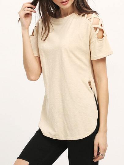 Camiseta cuello redondo asimétrica -nude