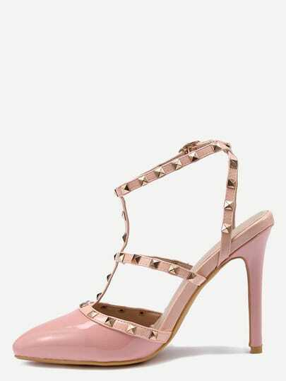 Pink Studded T-Strap Pointed Toe High Heel Sandals