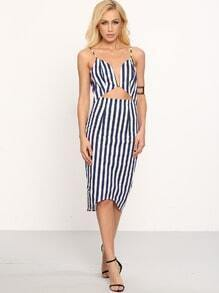 Vertical Stripe Deep V Neck Split Back Bodycon Dress