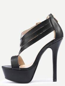 Double Ankle Strap Peep Toe Platform Sandals - Black