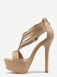 Double Ankle Strap Peep Toe Platform Sandals - Beige