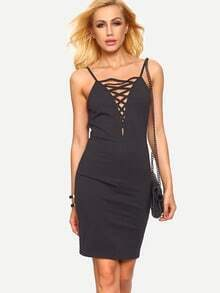 Black Crisscross Spaghetti Strap V Back Bodycon Dress