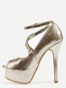 Crisscross Peep Toe Platform High Heels - Gold