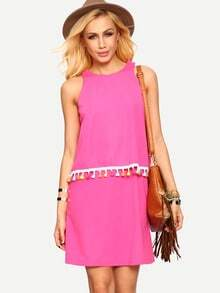 Hot Pink Sleeveless Tassel Shift Dress