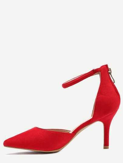 Red Ankle Strap Pointed Toe Heels