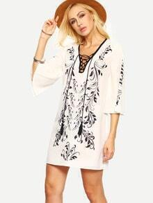 Black Print In White Lace-up Bell Sleeve Shift Dress