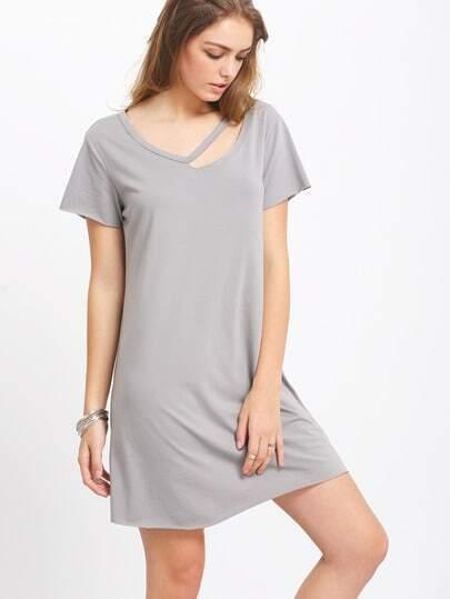 Grey Short Sleeve Hollow T-shirt Dress