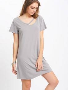 Grey Short Sleeve Hollow T-shirt Dress