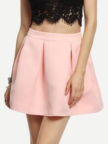 Pink Pleated Cute Zipper Skirt