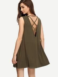 Amry Green Lace-up Back Shift Dress