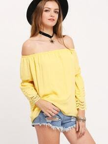 Yellow Off The Shoulder Ruffle Blouse