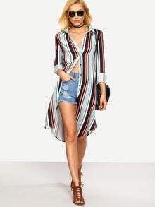 Vertical Stripe Split Side Button Down Dress