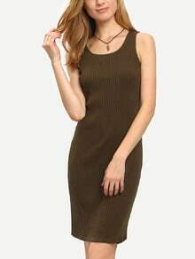 Army Green Sleeveless Tight Knee Length Dress