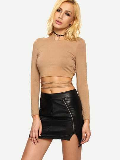 Dark Nude Long Sleeve Crisscross Crop T-shirt