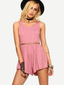 Light Rust Red Hollow Panel Backless Romper