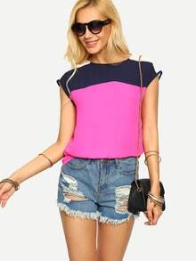 Multicolor Patchwork Sleeveless T-shirt