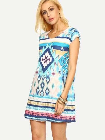 Multicolor Short Sleeve Vintage Print Shift Dress