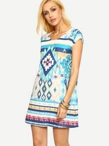 Multicolor Short Sleeve Vintage Print Shift Dress