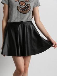 Black PU Leather Pleated Dress