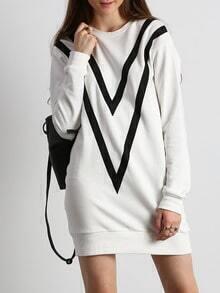 Beige Color Block Trims Sweatshirt Dress